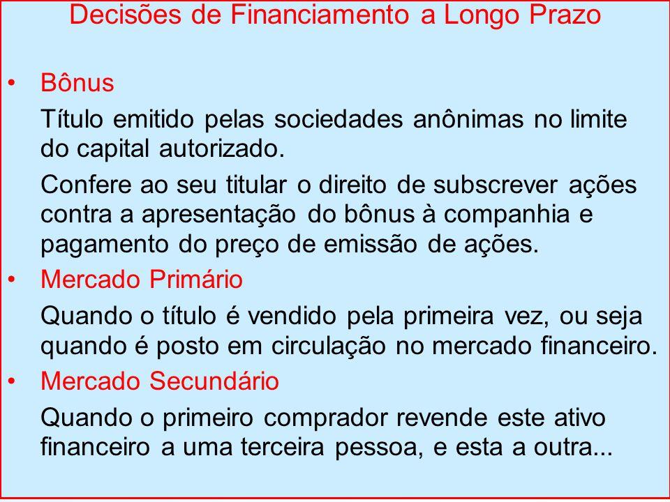 Decisões de Financiamento a Longo Prazo Bônus Título emitido pelas sociedades anônimas no limite do capital autorizado. Confere ao seu titular o direi