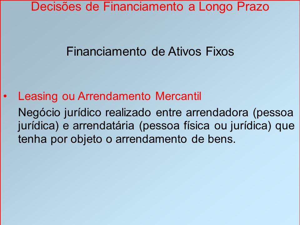 Decisões de Financiamento a Longo Prazo Financiamento de Ativos Fixos Leasing ou Arrendamento Mercantil Negócio jurídico realizado entre arrendadora (