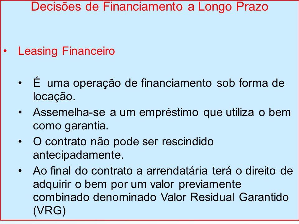 Decisões de Financiamento a Longo Prazo Leasing Financeiro É uma operação de financiamento sob forma de locação. Assemelha-se a um empréstimo que util