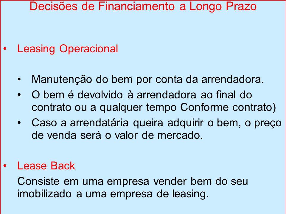 Decisões de Financiamento a Longo Prazo Leasing Operacional Manutenção do bem por conta da arrendadora. O bem é devolvido à arrendadora ao final do co