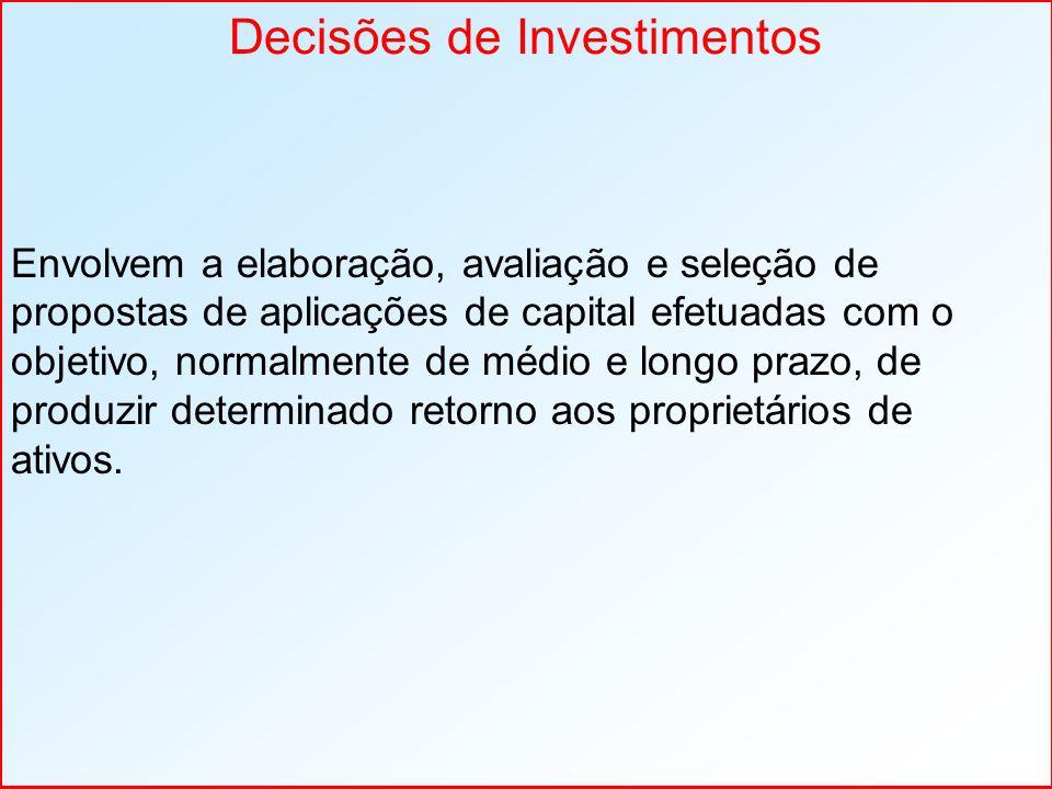 Envolvem a elaboração, avaliação e seleção de propostas de aplicações de capital efetuadas com o objetivo, normalmente de médio e longo prazo, de prod