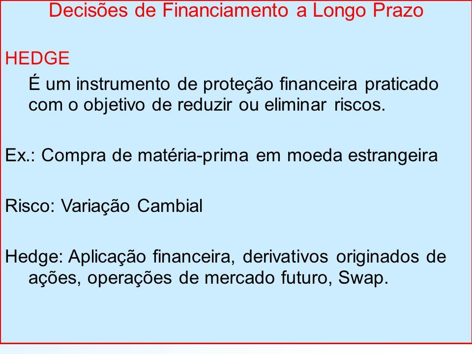 Decisões de Financiamento a Longo Prazo HEDGE É um instrumento de proteção financeira praticado com o objetivo de reduzir ou eliminar riscos. Ex.: Com