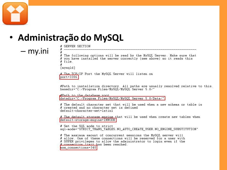 Administração do MySQL – my.ini