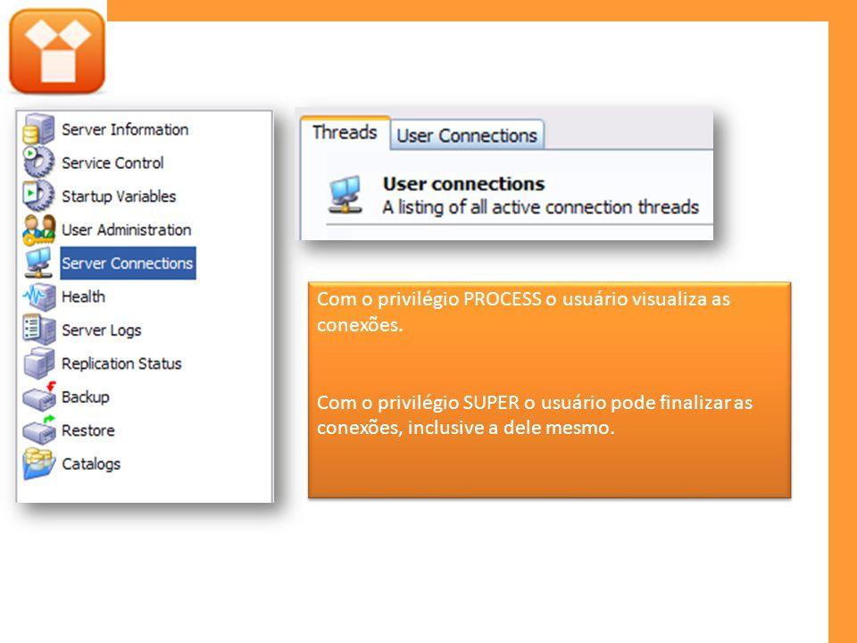 Com o privilégio PROCESS o usuário visualiza as conexões. Com o privilégio SUPER o usuário pode finalizar as conexões, inclusive a dele mesmo. Com o p