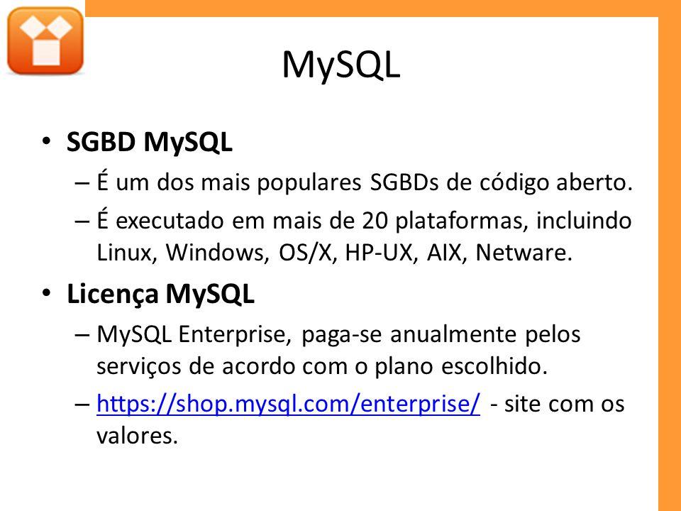 MySQL SGBD MySQL – É um dos mais populares SGBDs de código aberto. – É executado em mais de 20 plataformas, incluindo Linux, Windows, OS/X, HP-UX, AIX