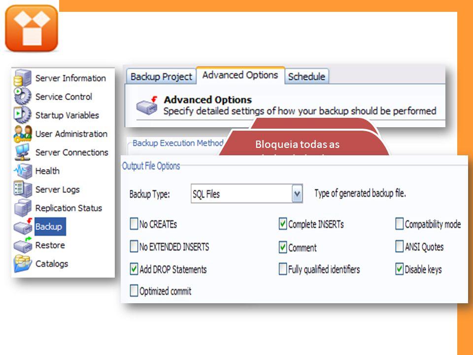 Executa em uma única transação. Criar uma copia consistente do dados. Bloqueia todas as tabelas do backup. Assegura que as tabelas estejam em um estad
