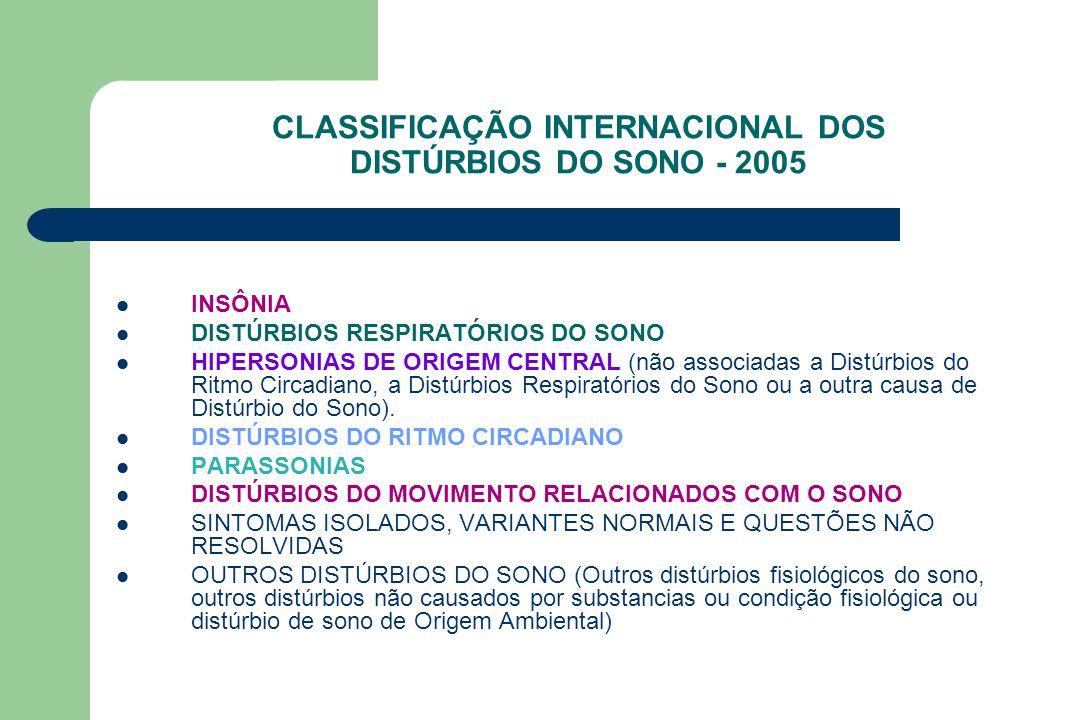 CLASSIFICAÇÃO INTERNACIONAL DOS DISTÚRBIOS DO SONO - 2005 INSÔNIA DISTÚRBIOS RESPIRATÓRIOS DO SONO HIPERSONIAS DE ORIGEM CENTRAL (não associadas a Dis