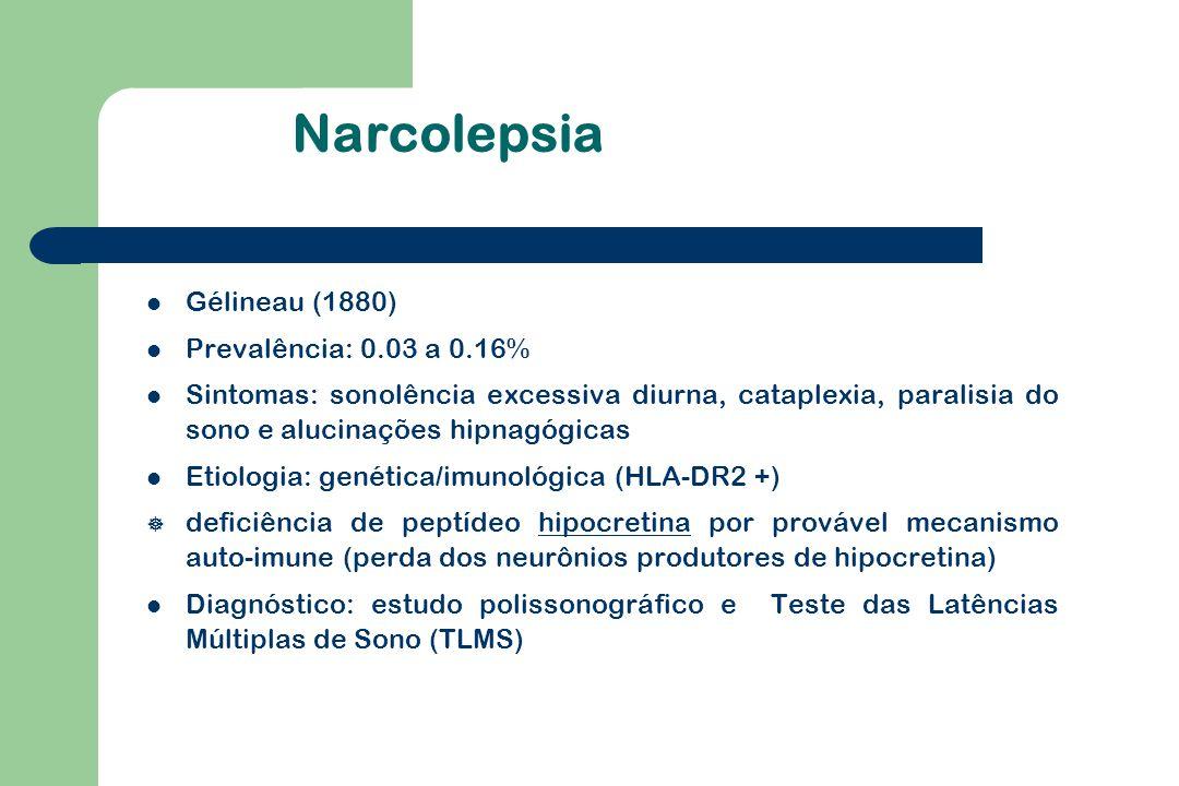 Narcolepsia Gélineau (1880) Prevalência: 0.03 a 0.16% Sintomas: sonolência excessiva diurna, cataplexia, paralisia do sono e alucinações hipnagógicas