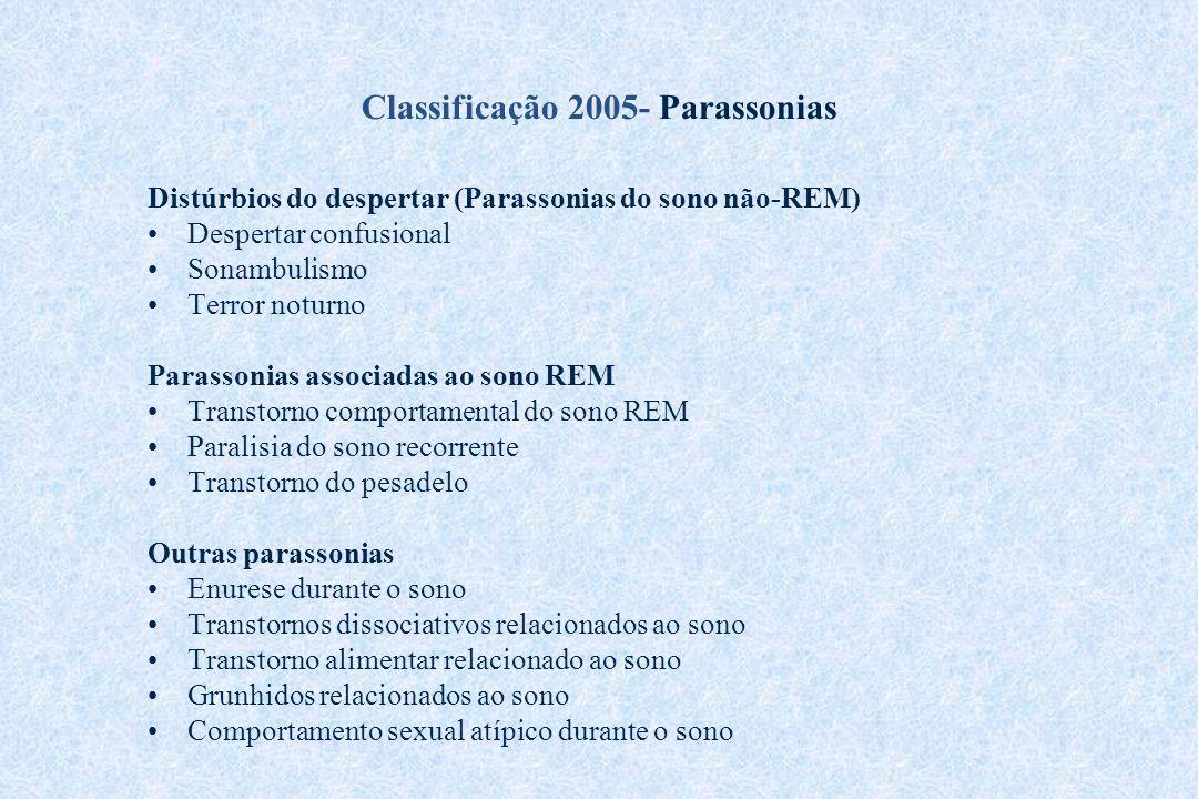 Classificação 2005- Parassonias Distúrbios do despertar (Parassonias do sono não-REM) Despertar confusional Sonambulismo Terror noturno Parassonias as
