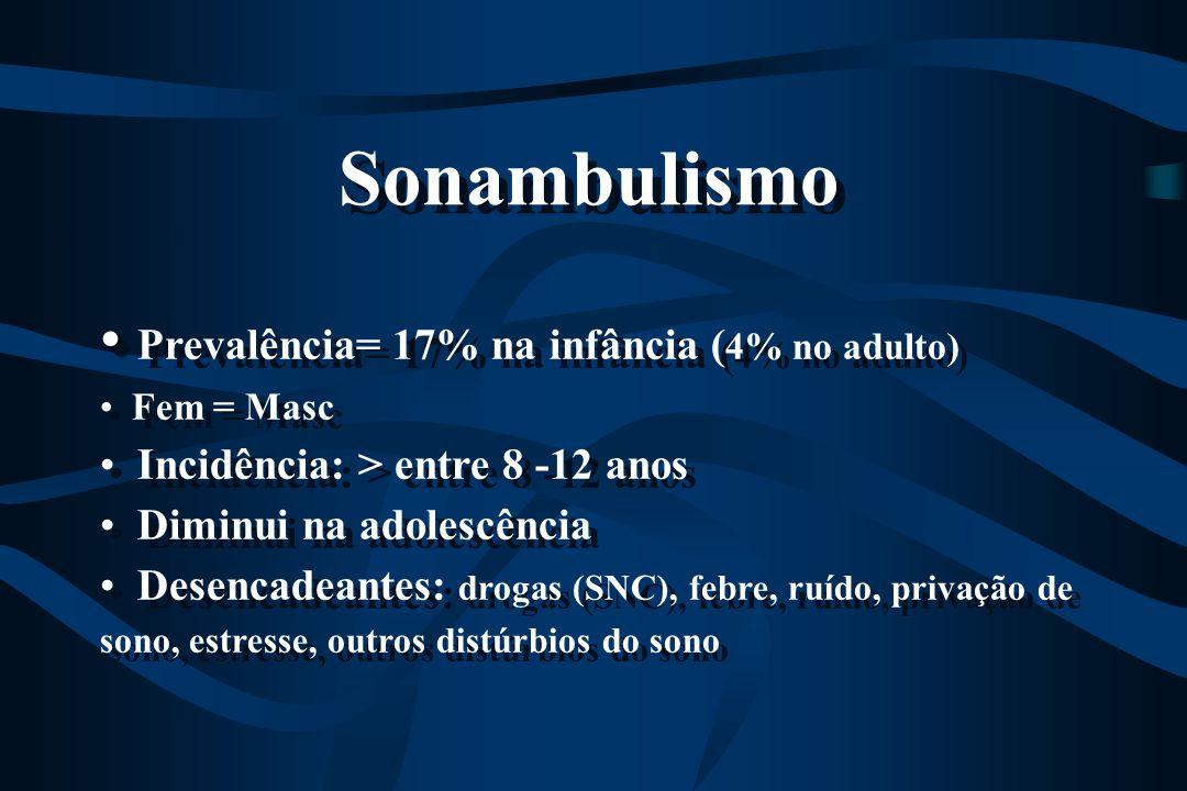 Prevalência= 17% na infância ( 4% no adulto) Fem = Masc Incidência: > entre 8 -12 anos Diminui na adolescência Desencadeantes: drogas (SNC), febre, ru
