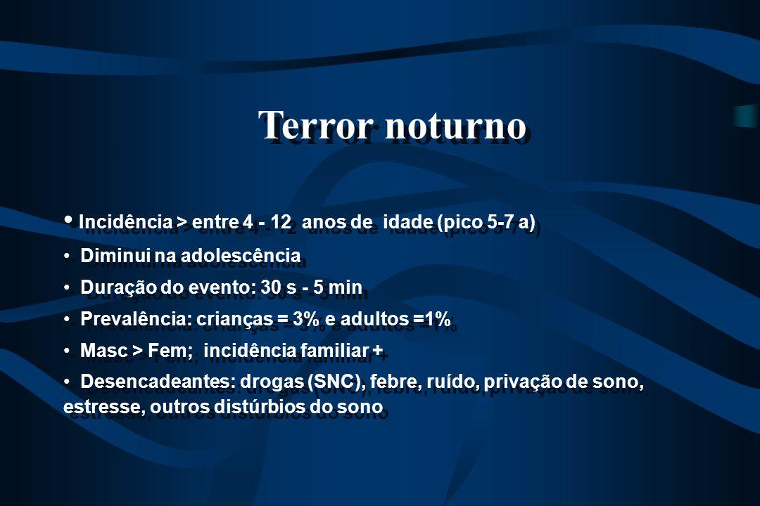 Terror noturno Incidência > entre 4 - 12 anos de idade (pico 5-7 a) Diminui na adolescência Duração do evento: 30 s - 5 min Prevalência: crianças = 3%