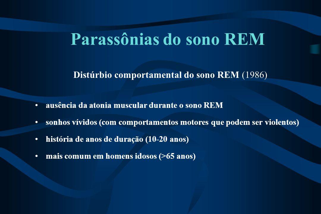 Parassônias do sono REM Distúrbio comportamental do sono REM (1986) ausência da atonia muscular durante o sono REM sonhos vívidos (com comportamentos