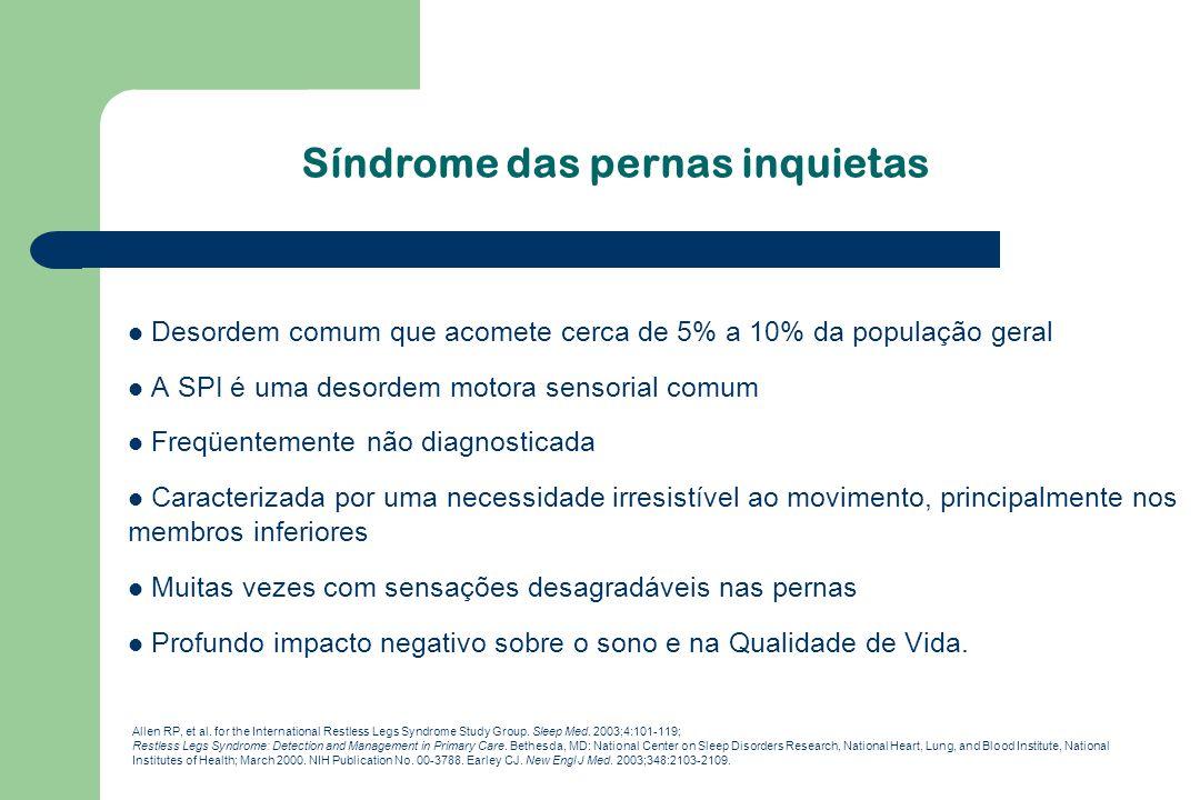 Síndrome das pernas inquietas Desordem comum que acomete cerca de 5% a 10% da população geral A SPI é uma desordem motora sensorial comum Freqüentemen