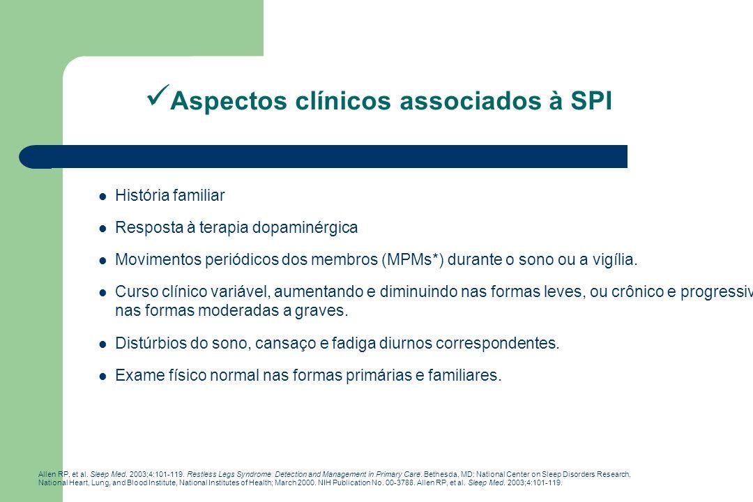 Aspectos clínicos associados à SPI História familiar Resposta à terapia dopaminérgica Movimentos periódicos dos membros (MPMs*) durante o sono ou a vi