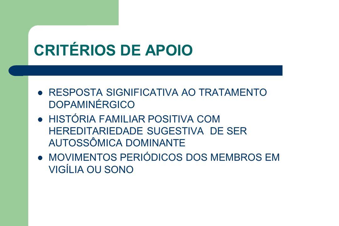 CRITÉRIOS DE APOIO RESPOSTA SIGNIFICATIVA AO TRATAMENTO DOPAMINÉRGICO HISTÓRIA FAMILIAR POSITIVA COM HEREDITARIEDADE SUGESTIVA DE SER AUTOSSÔMICA DOMI