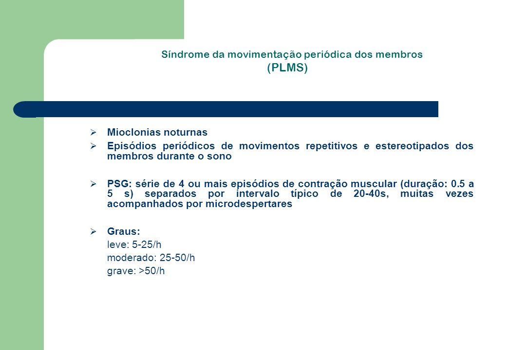 Síndrome da movimentação periódica dos membros (PLMS)  Mioclonias noturnas  Episódios periódicos de movimentos repetitivos e estereotipados dos memb