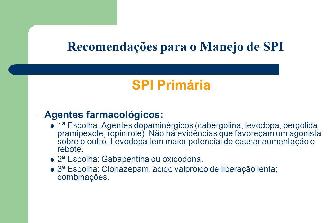 SPI Primária – Agentes farmacológicos: 1ª Escolha: Agentes dopaminérgicos (cabergolina, levodopa, pergolida, pramipexole, ropinirole). Não há evidênci