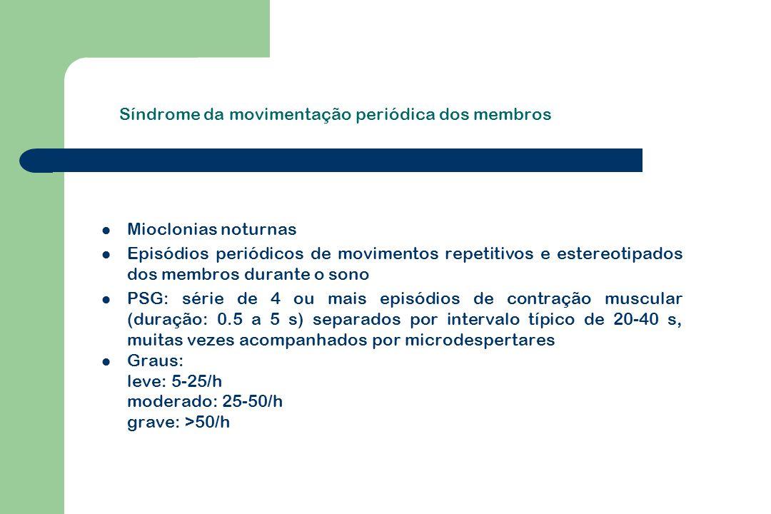 Síndrome da movimentação periódica dos membros Mioclonias noturnas Episódios periódicos de movimentos repetitivos e estereotipados dos membros durante