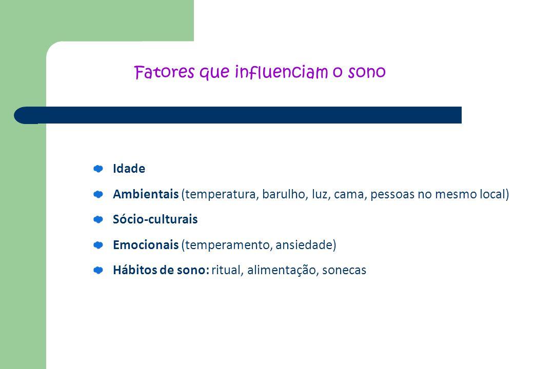 Idade Ambientais (temperatura, barulho, luz, cama, pessoas no mesmo local) Sócio-culturais Emocionais (temperamento, ansiedade) Hábitos de sono: ritua