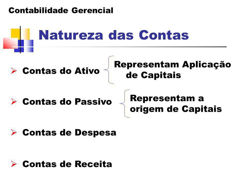 Contabilidade Gerencial Representam Aplicação de Capitais Natureza das Contas  Contas do Ativo  Contas do Passivo  Contas de Despesa  Contas de Re
