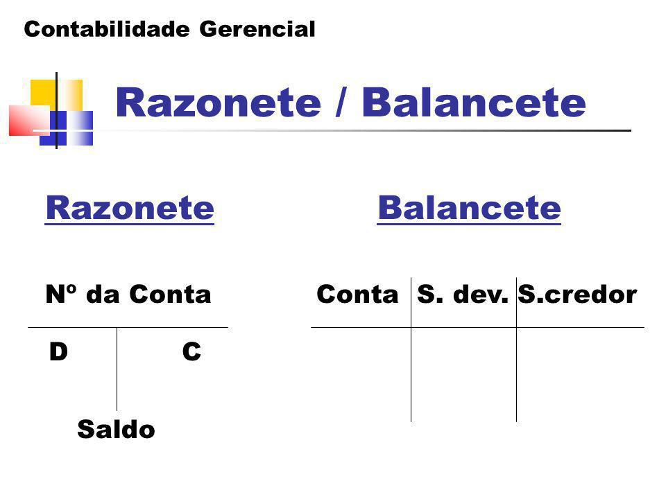 Contabilidade Gerencial Razonete Balancete Nº da Conta Conta S. dev. S.credor Saldo D C Razonete / Balancete