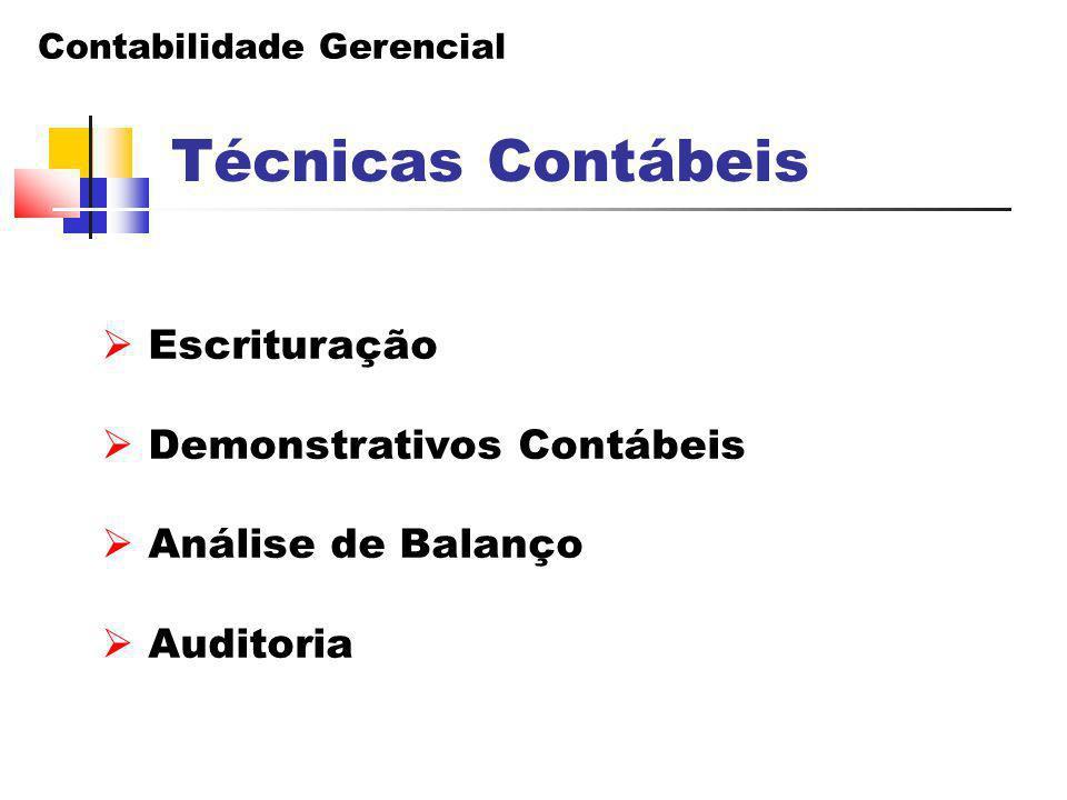 Contabilidade Gerencial Técnicas Contábeis  Escrituração  Demonstrativos Contábeis  Análise de Balanço  Auditoria