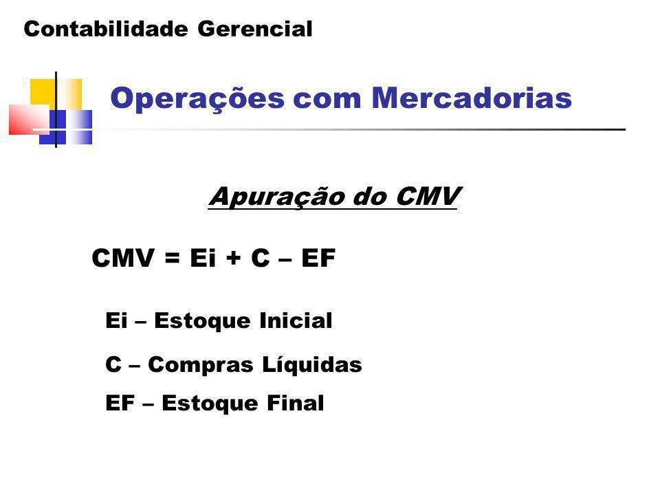 Contabilidade Gerencial Operações com Mercadorias Apuração do CMV CMV = Ei + C – EF Ei – Estoque Inicial C – Compras Líquidas EF – Estoque Final