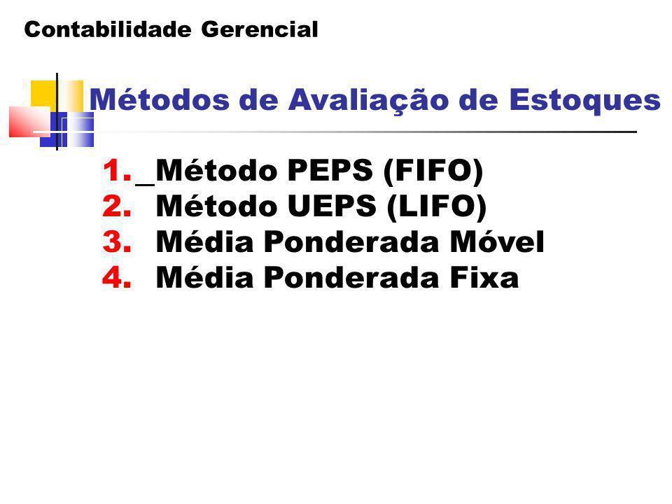 Contabilidade Gerencial Métodos de Avaliação de Estoques 1. Método PEPS (FIFO) 2. Método UEPS (LIFO) 3. Média Ponderada Móvel 4. Média Ponderada Fixa