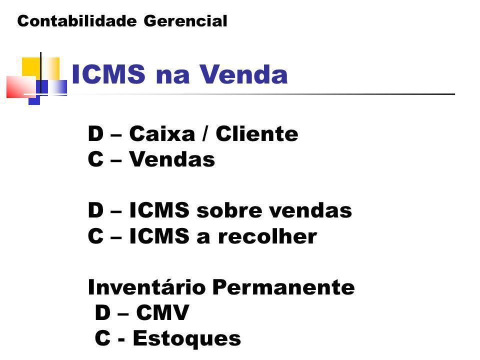 Contabilidade Gerencial ICMS na Venda D – Caixa / Cliente C – Vendas D – ICMS sobre vendas C – ICMS a recolher Inventário Permanente D – CMV C - Estoq