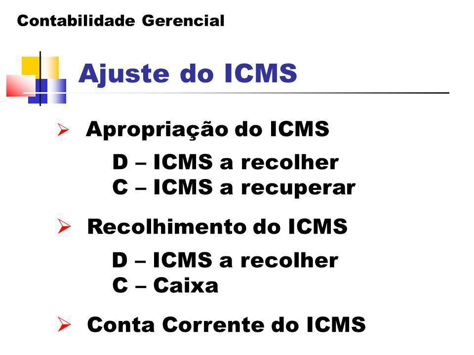 Contabilidade Gerencial Ajuste do ICMS  Apropriação do ICMS D – ICMS a recolher C – ICMS a recuperar  Recolhimento do ICMS D – ICMS a recolher C – C