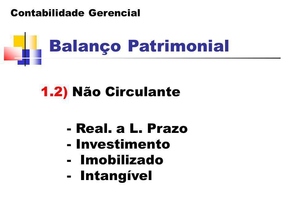 Contabilidade Gerencial Balanço Patrimonial 1.2) Não Circulante - Real. a L. Prazo - Investimento - Imobilizado - Intangível
