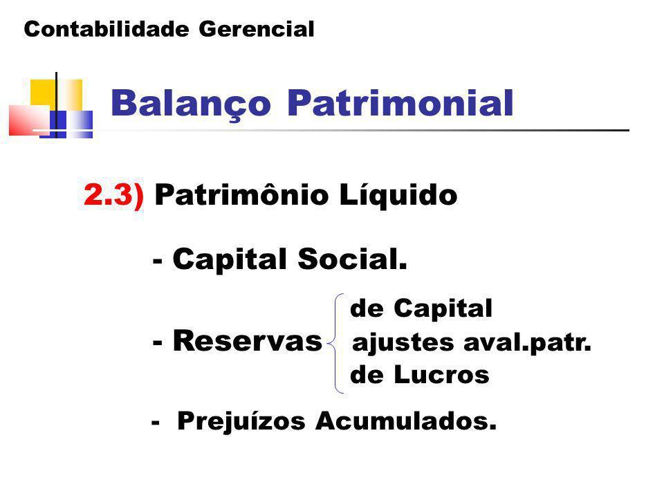 Contabilidade Gerencial Balanço Patrimonial 2.3) Patrimônio Líquido - Capital Social. de Capital - Reservas ajustes aval.patr. de Lucros - Prejuízos A