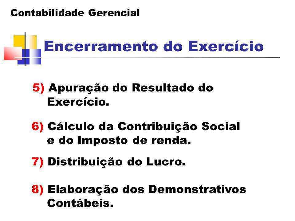 Contabilidade Gerencial Encerramento do Exercício 5) Apuração do Resultado do Exercício. 6) Cálculo da Contribuição Social e do Imposto de renda. 7) D