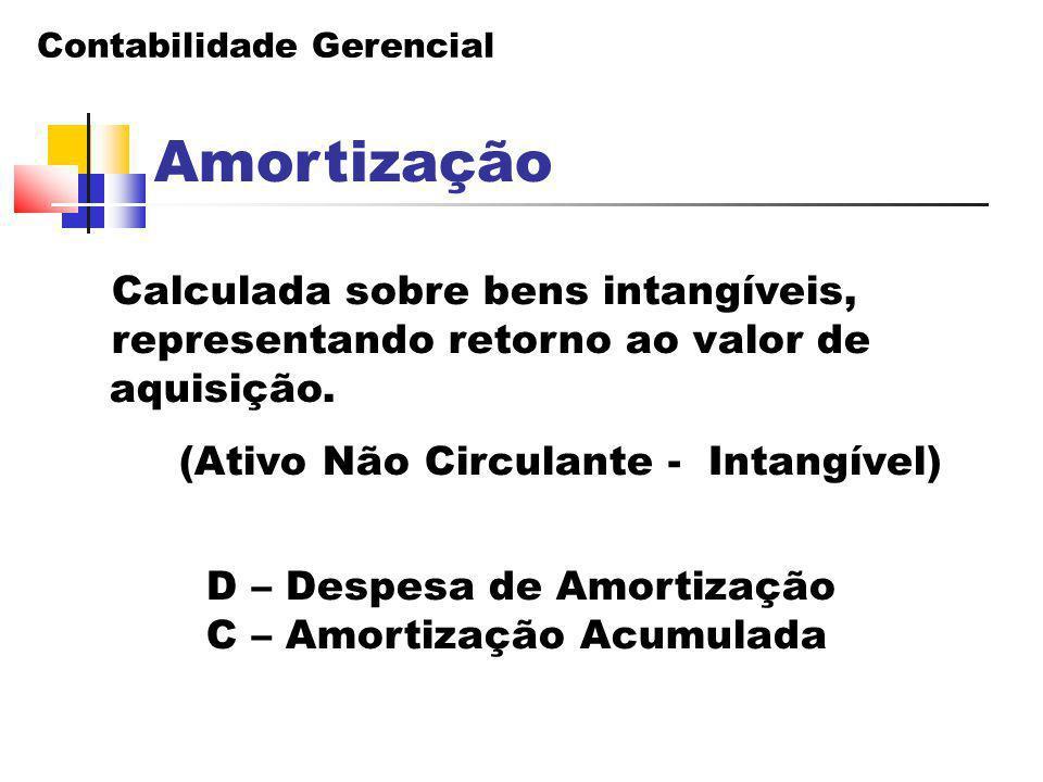 Contabilidade Gerencial Amortização Calculada sobre bens intangíveis, representando retorno ao valor de aquisição. (Ativo Não Circulante - Intangível)
