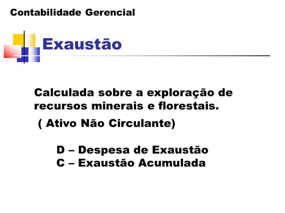 Contabilidade Gerencial Exaustão Calculada sobre a exploração de recursos minerais e florestais. ( Ativo Não Circulante) D – Despesa de Exaustão C – E