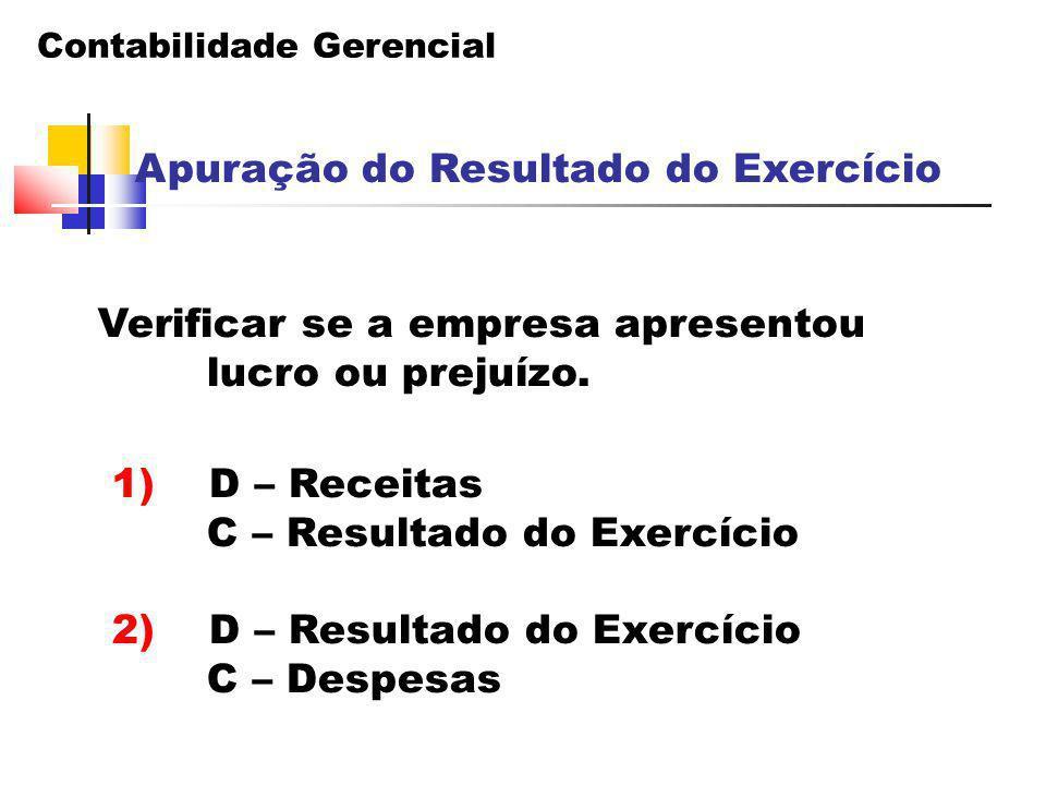 Contabilidade Gerencial Apuração do Resultado do Exercício Verificar se a empresa apresentou lucro ou prejuízo. 1) D – Receitas C – Resultado do Exerc