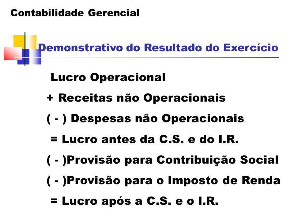 Contabilidade Gerencial Demonstrativo do Resultado do Exercício Lucro Operacional + Receitas não Operacionais ( - ) Despesas não Operacionais = Lucro
