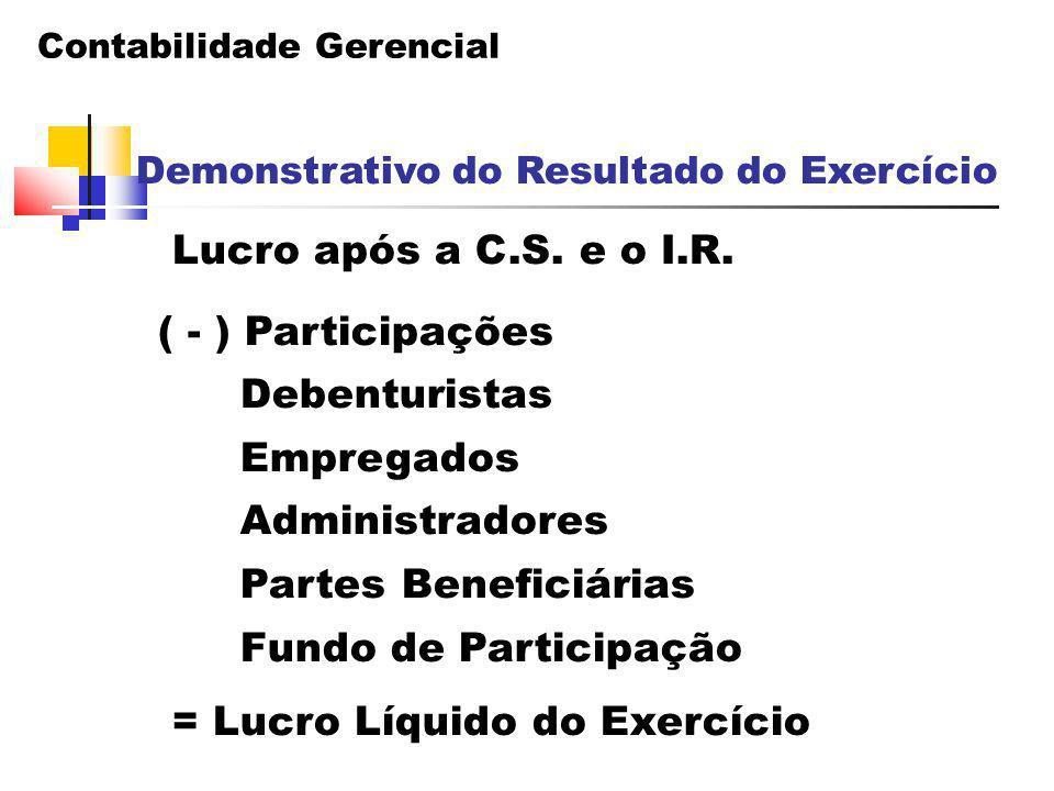 Contabilidade Gerencial Demonstrativo do Resultado do Exercício Lucro após a C.S. e o I.R. ( - ) Participações Debenturistas Empregados Administradore