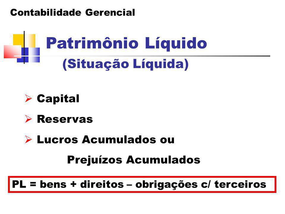Contabilidade Gerencial Patrimônio Líquido  Capital  Reservas  Lucros Acumulados ou Prejuízos Acumulados PL = bens + direitos – obrigações c/ terce