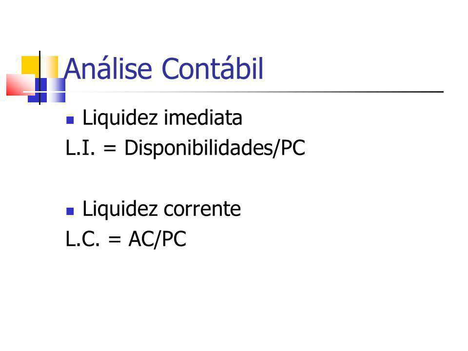 Análise Contábil Liquidez imediata L.I. = Disponibilidades/PC Liquidez corrente L.C. = AC/PC