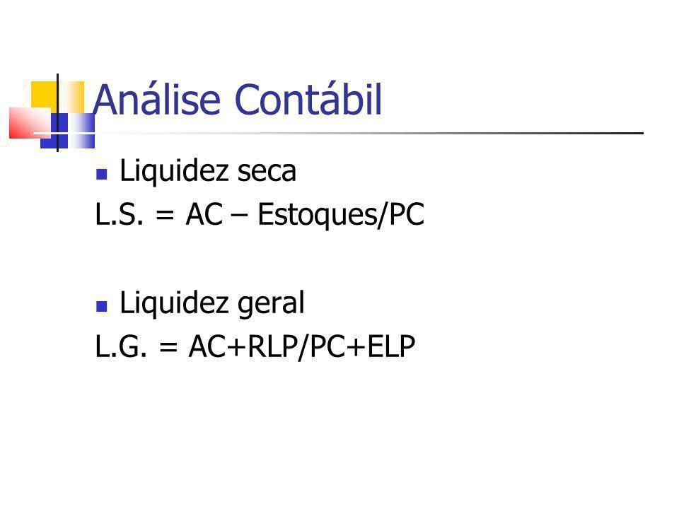 Análise Contábil Liquidez seca L.S. = AC – Estoques/PC Liquidez geral L.G. = AC+RLP/PC+ELP