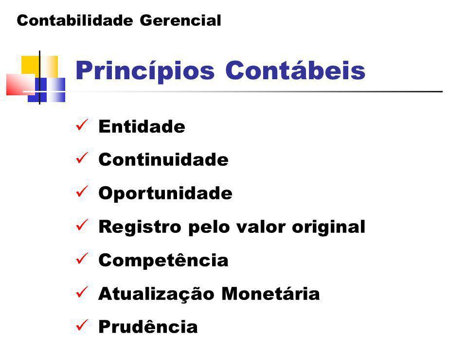 Contabilidade Gerencial Princípios Contábeis Entidade Continuidade Oportunidade Registro pelo valor original Competência Atualização Monetária Prudênc