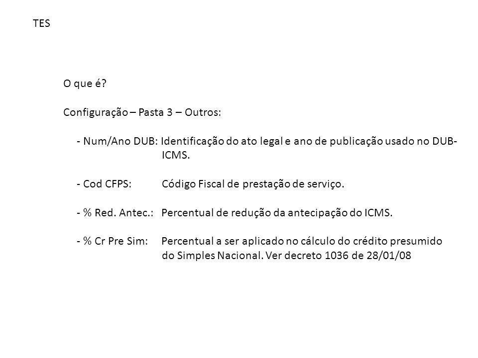 TES O que é? Configuração – Pasta 3 – Outros: - Num/Ano DUB: Identificação do ato legal e ano de publicação usado no DUB- ICMS. - Cod CFPS: Código Fis