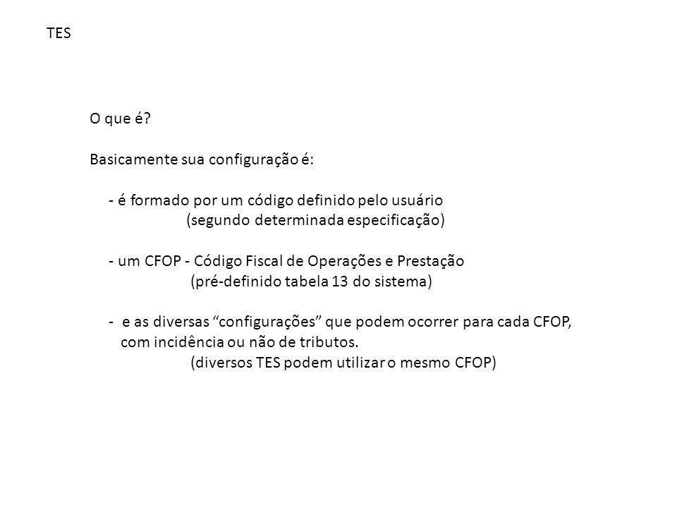 O que é? Basicamente sua configuração é: - é formado por um código definido pelo usuário (segundo determinada especificação) - um CFOP - Código Fiscal