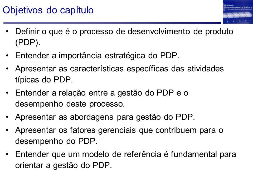 Sumário do capítulo O que é o PDP e sua importância O papel do PDP no Brasil Características do PDP Tipos de projetos Definição e escopo do PDP A importância da gestão do PDP Abordagens para gestão do PDP Arranjos organizacionais para o PDP Fatores gerenciais que afetam o desempenho Modelo de referência é essencial para o PDP