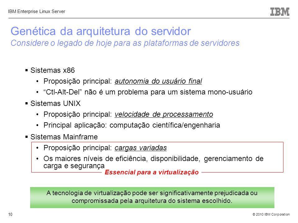 """© 2010 IBM Corporation IBM Enterprise Linux Server 10 Essencial para a virtualização  Sistemas x86 Proposição principal: autonomia do usuário final """""""