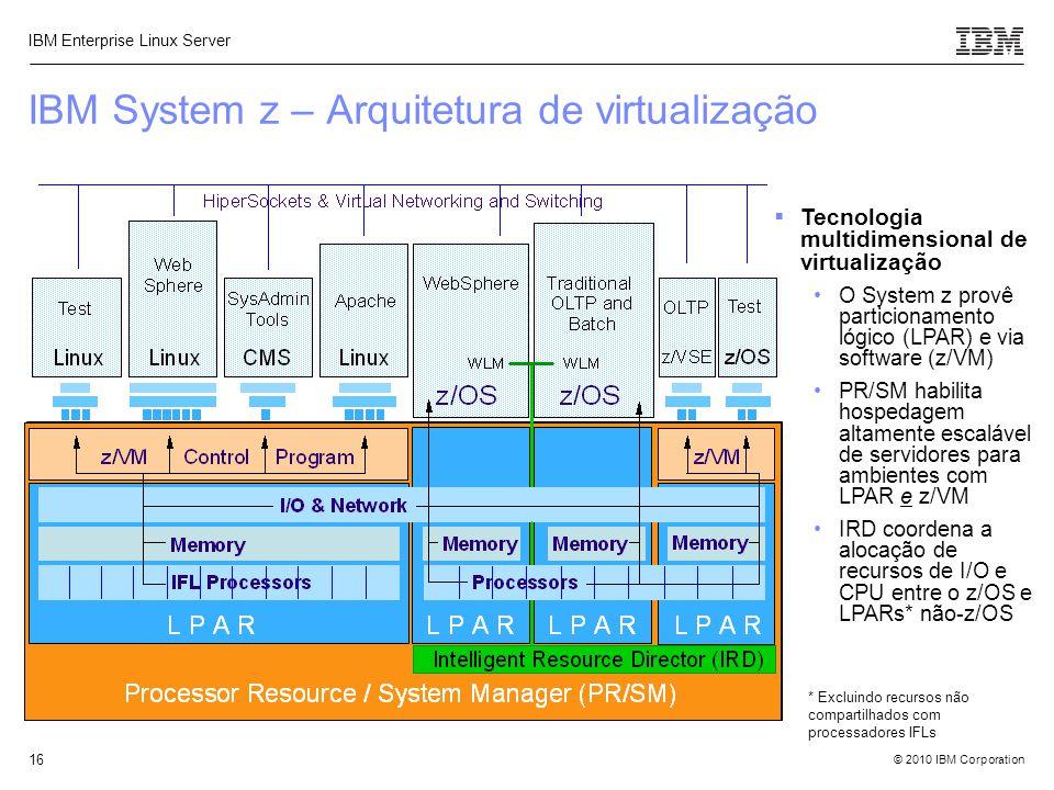 © 2010 IBM Corporation IBM Enterprise Linux Server 16 IBM System z – Arquitetura de virtualização  Tecnologia multidimensional de virtualização O Sys