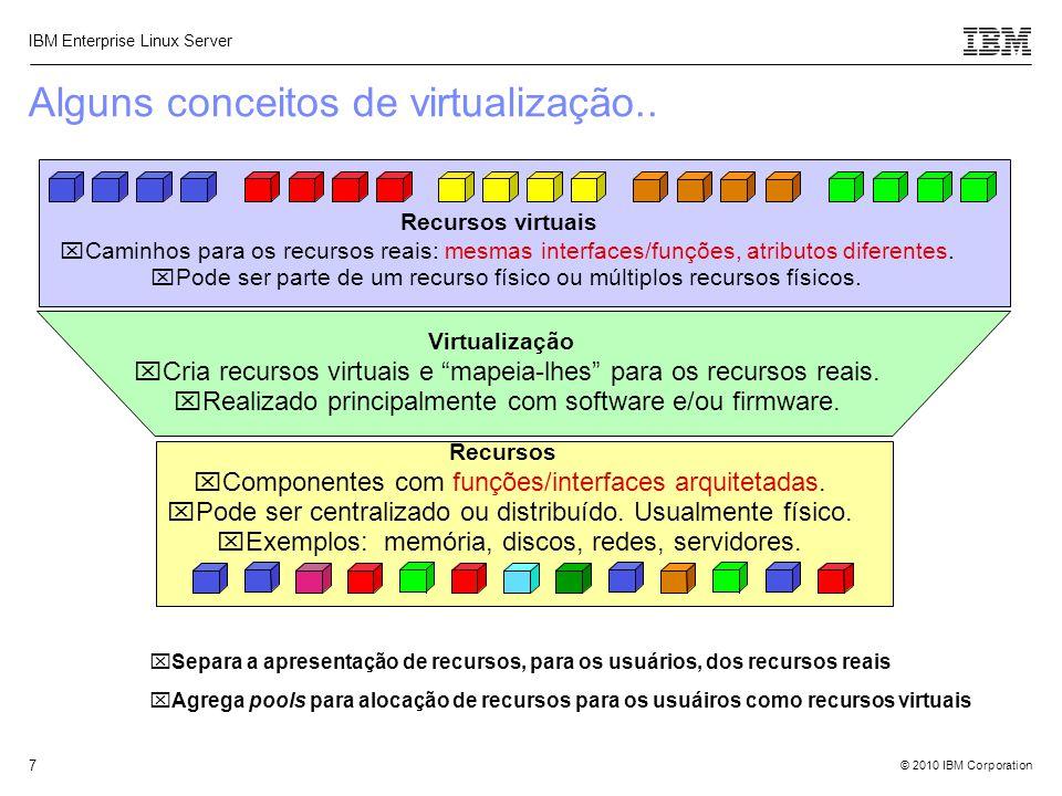 © 2010 IBM Corporation IBM Enterprise Linux Server 7 Alguns conceitos de virtualização..  Separa a apresentação de recursos, para os usuários, dos re