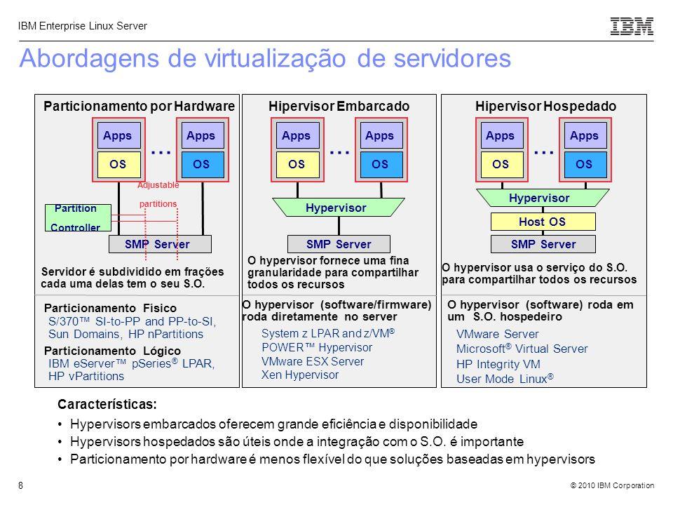 © 2010 IBM Corporation IBM Enterprise Linux Server 8 Abordagens de virtualização de servidores O hypervisor (software/firmware) roda diretamente no se