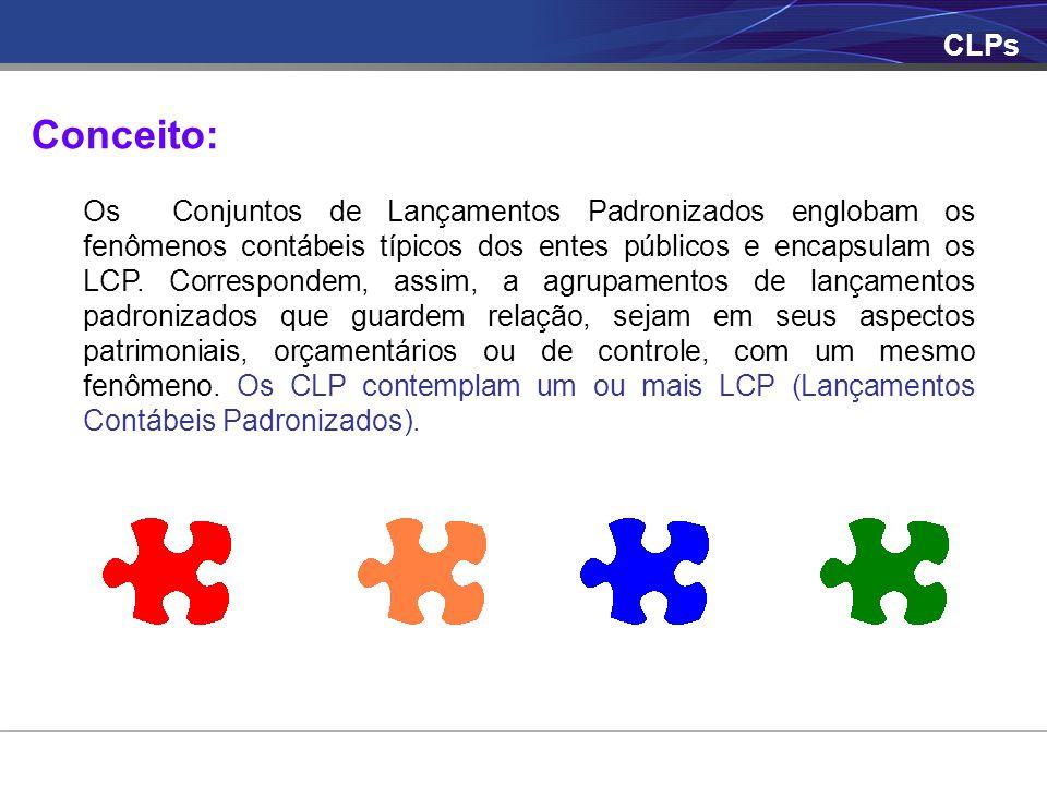 CLPs Conceito: Os Conjuntos de Lançamentos Padronizados englobam os fenômenos contábeis típicos dos entes públicos e encapsulam os LCP. Correspondem,